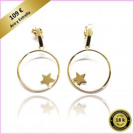 PENDIENTES HOOP Oro de Ley 18 Kts. Aro y Estrella