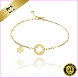 PULSERA LOVES SECRET TREBOL ORO AMARILLO 18 Kts.