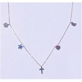 Gargantilla Love Oro 18 Kts (750 m/m) 3 Amuletos