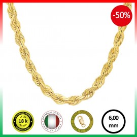 CORDÓN 6 mm COLLAR ORO 18 K.