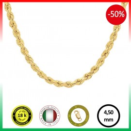 CORDÓN 4,5 mm COLLAR ORO 18 K.