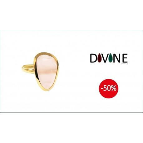 Sortija Divine Oro 18 K. Quarzo Rosa Termal Forma