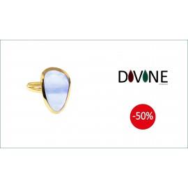 Sortija Divine Oro 18 K. Quarzo Azul Termal Forma