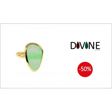 Sortija Divine Oro 18 K. Quarzo Verde Termal Forma