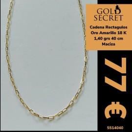 Cadena Rectangular Oro 18 Kilates 40 Cm