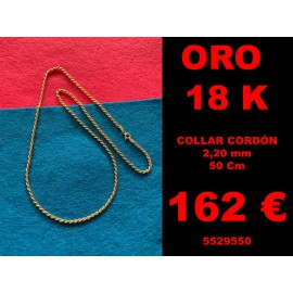 Collar Cordón 2,20 mm 60 Cm Oro 18 Kilates