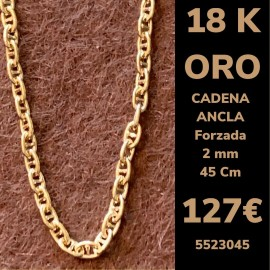 Cadena/ Collar ANCLA CD FORZADA 2 MM 45 CM ORO 18 Kilates