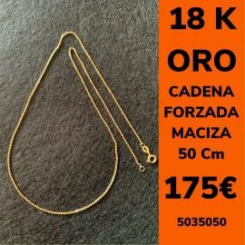 CADENA FORZADA MACIZA 50 CM ORO 18 KILATES
