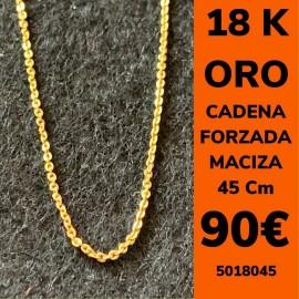 CADENA FORZADA MACIZA 45 CM ORO 18 KILATES