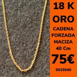 CADENA FORZADA MACIZA 40 CM ORO 18 KILATES