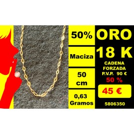 CADENA FORZADA LIGERA 50 CM ORO 18 KILATES