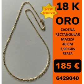 Cadena Rectangular Oro 18 Kilates 40 cm