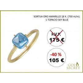 SORTIJA SWEET ORO AMARILLO 18 Kts. - TOPACIO AZUL CIELO