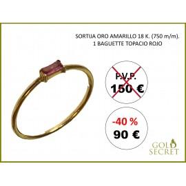 Sortija baguette Oro Amatillo 18 Kialtes