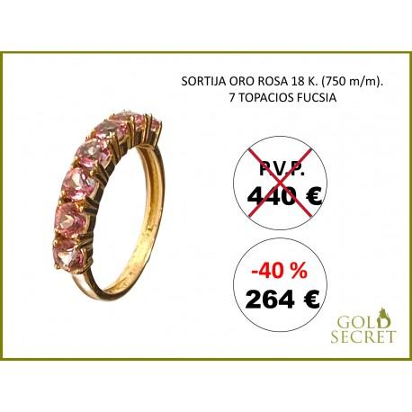 SORTIJA RAINBOW ORO ROSA 18 Kts. - 7 TOPACIOS ROSA