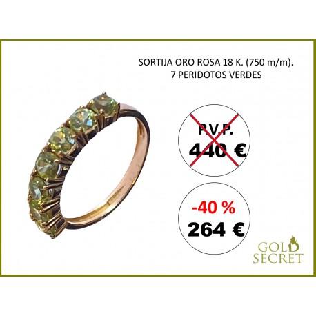 SORTIJA RAINBOW ORO ROSA 18 Kts. - 7 PERIDOTOS