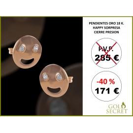PENDIENTES ORO AMARILLO - HAPPY CON 2 CIRCONITAS