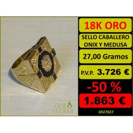 Sello Caballero Cuadrado Ónix con Medusa Oro 18 Kilates