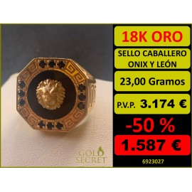 Sello Caballero Octogonal Ónix con León Oro 18 Kilates