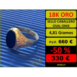 SELLO OVAL ÓNIX ORO 18 KILATES