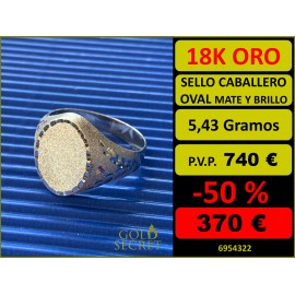 SELLO OVAL MATE Y BRILLO ORO 18 KILATES