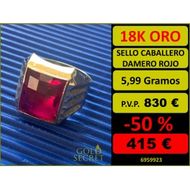 Sello Caballero Rectangular Damero Rojo Oro 18 Kilates