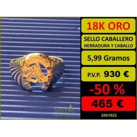 SELLO HERRADURA Y CABALLO ORO 18 KILATES
