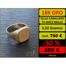SELLO TV MATE Y BRILLO ORO 18 KILATES