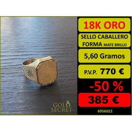 SELLO HEXAGONAL MATE Y BRILLO ORO 18 KILATES