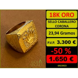 Sello Caballero CORONA Oro 18 Kilates
