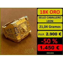Sello Caballero LEON Oro 18 Kilates