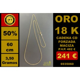 Cadena CD ANCLA FORZADA MACIZA 60 CM ORO 18 Kilates