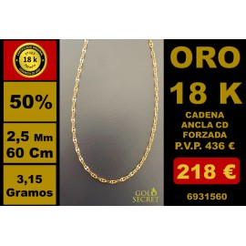 Cadena/ Collar CD ANCLA FORZADA 2,50 MM 60 CM ORO 18 Kilates