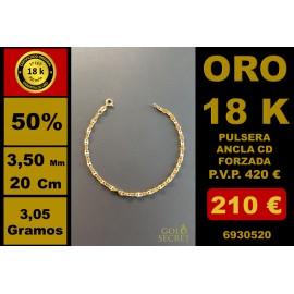 PULSERA CD ANCLA FORZADA 3,50 MM 20 CM ORO 18 Kilates