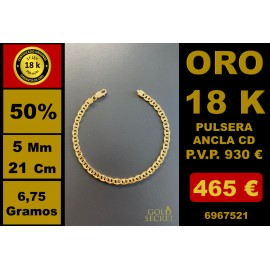 PULSERA CD ANCLA 5/5,50 MM 21 CM ORO 18 Kilates