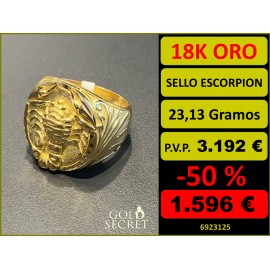 Sello Caballero REY ESCORPION Oro 18 Kilates