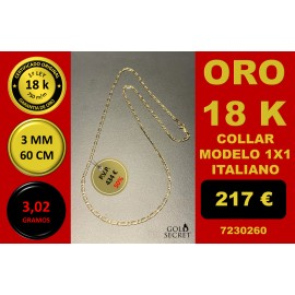 COLLAR 1X1 ORO 18 Kilates 3 mm 60 cm