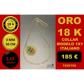 COLLAR 1X1 ORO 18 Kilates 3 mm 50 cm