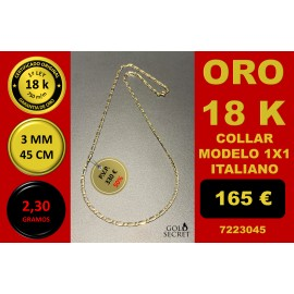 COLLAR 1X1 ORO 18 Kilates 3 mm 45 cm