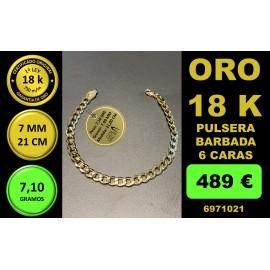 Pulsera Barbada 6 Caras 7 mm 21 cm Oro 18 Kilates