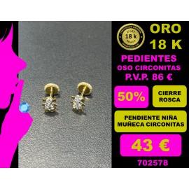 PENDIENTE MUÑECA CIRCONITAS ORO 18 KILATES