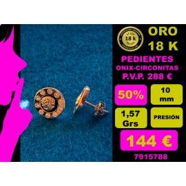 PENDIENTES ORO AMARILLO 18 Kts. - ONIX Y MEDUSA