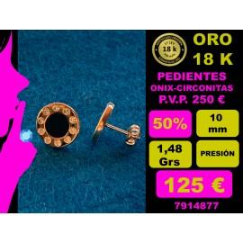 PENDIENTES ORO AMARILLO 18 Kts. - ONIX Y CIRCONITAS