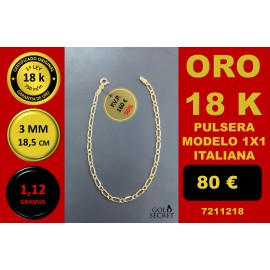PULSERA 1X1 ORO 18 Kilates 3 mm 45 cm