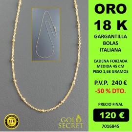 CADENA BOLAS-BARRA ORO AMARILLO 18 K 50 CM